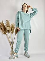 Бірюзовий спортивний жіночий костюм з подовженою кофтою з бавовни розмір M-L