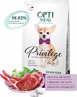 Сухой беззерновой полнорационный корм Optimeal для взрослых собак миниатюрных и малых пород со вкусом ягненка