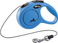Рулетка Flexi New Classic для собак 3 м. трос ХЅ, до 8 кг синя