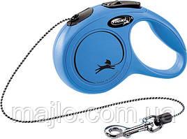 Рулетка Flexi New Classic для собак 3 м. трос ХS, до 8 кг синяя