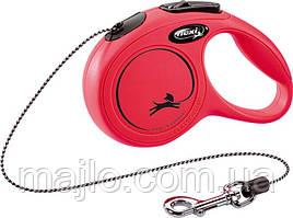 Рулетка Flexi New Classic для собак 3 м. трос ХS, до 8 кг красная