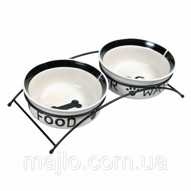 Підставка з двома керамічними мисками для собак Eat Feet on Ceramic Bowl Set 2 x 600 мл Ø 15 см Trixie