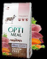 Сухой беззерновой полнорационный корм Optimeal для взрослых собак всех пород - утка и овощи 1,5 кг