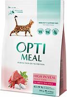 Сухий корм для дорослих кішок Optimeal зі смаком телятини 200 г