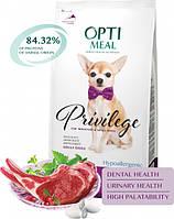 Сухий гіпоалергенний повнораціонний корм Optimeal для дорослих собак мініатюрних і малих порід зі смаком