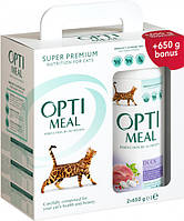 Упаковка сухого корма для взрослых кошек Optimeal со вкусом утки 650 г 2 шт (4820215360968/4820215360951)