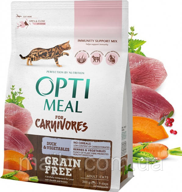 Сухой беззерновой корм для взрослых кошек Optimeal с уткой и овощами 300 г (4820083905926)