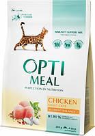 Сухой корм для взрослых кошек Optimeal со вкусом курицы 200 г (4820215360180)