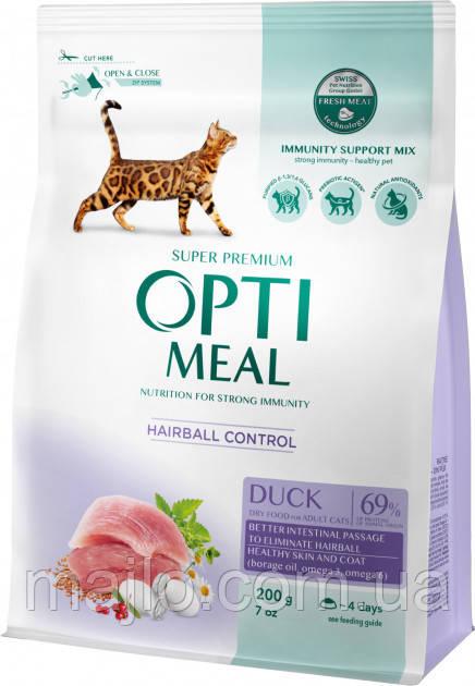 Повнораціонний сухий корм для дорослих кішок Optimeal зі смаком качки 200 г (4820215362412)