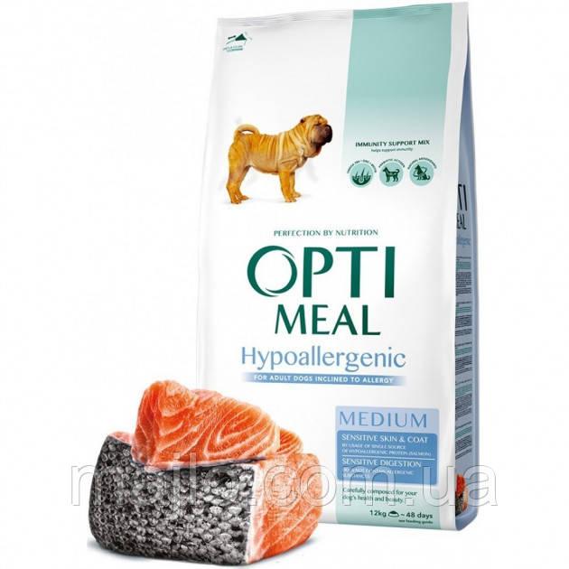 Сухий гіпоалергенний повнораціонний корм Optimeal для собак середніх порід зі смаком лосося 1.5 кг