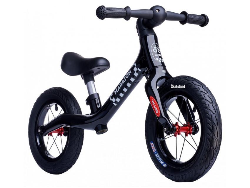 Беговел (Велобег) детский Maraton Royal Black с надувными колесами и ручным тормозом, Черный