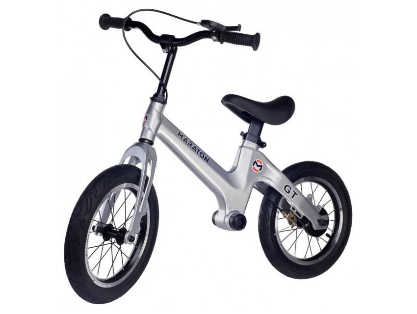 Беговел (велобіг від) дитячий Maraton GT з надувними колесами і ручним гальмом, Металік
