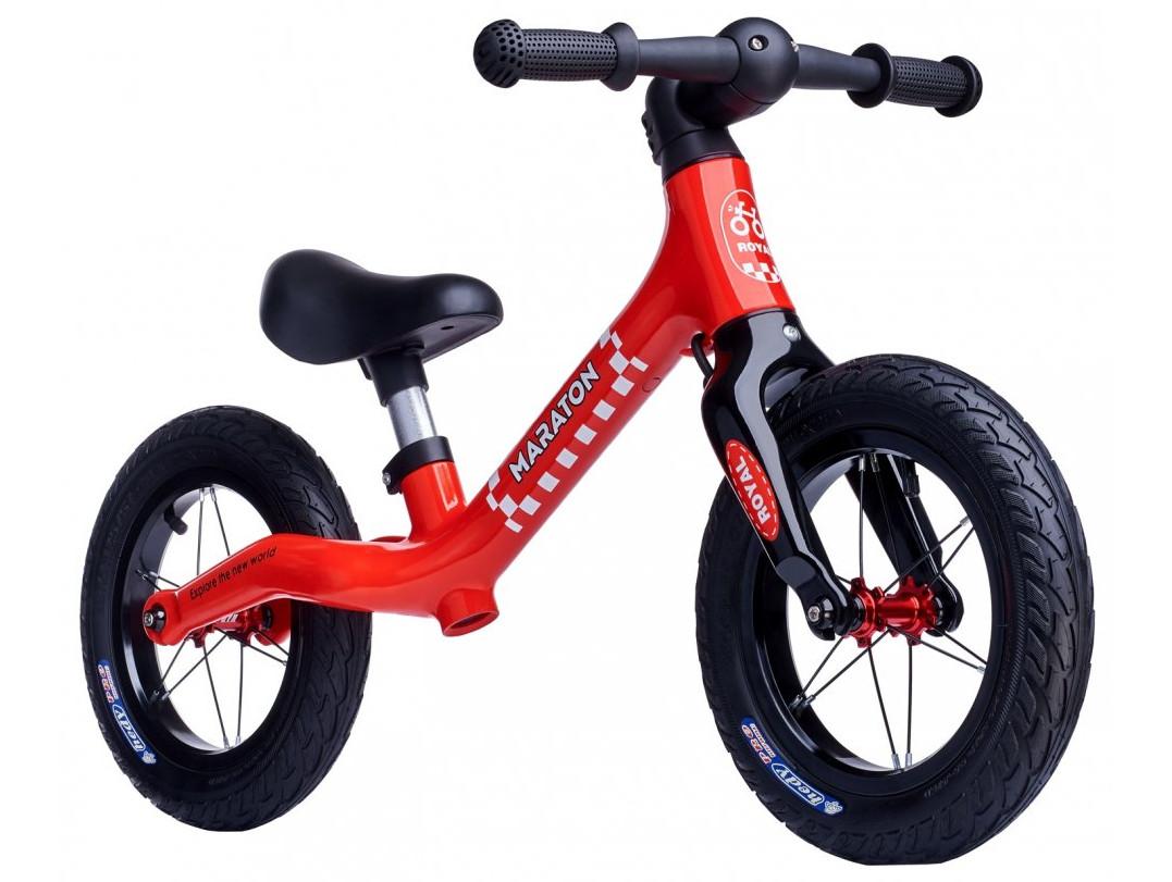 Беговел (велобіг від) дитячий Maraton Royal Red з надувними колесами і ручним гальмом, Червоний