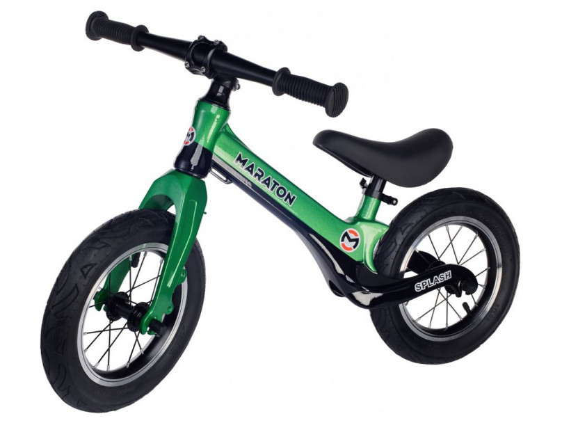Беговел (Велобег) детский Maraton Splash с надувными колесами Зеленый металлик