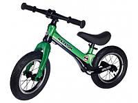 Беговел (Велобег) детский Maraton Splash с надувными колесами Зеленый металлик, фото 1