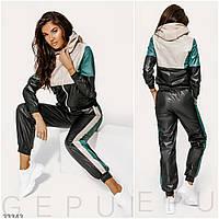 Спортивный костюм женский черный из плащевки (2 цвета) LC/-1073