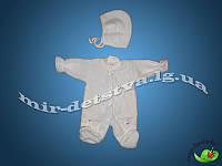 Человечек с шапочкой для новорожденного, махра, Турция р. 56см.