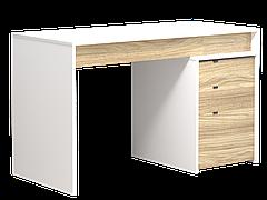 Комп'ютерний стіл Інтарсіо Ecoline 1300х786 мм Біла перлина гладка + блеквуд ячмінний (ECOLINE_R)