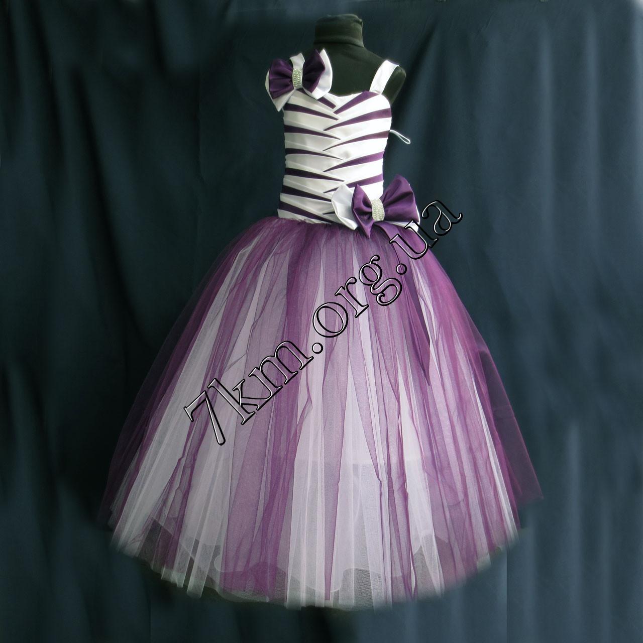 Платье нарядное бальное детское 6-7 лет Полоски фиолет Украина оптом.