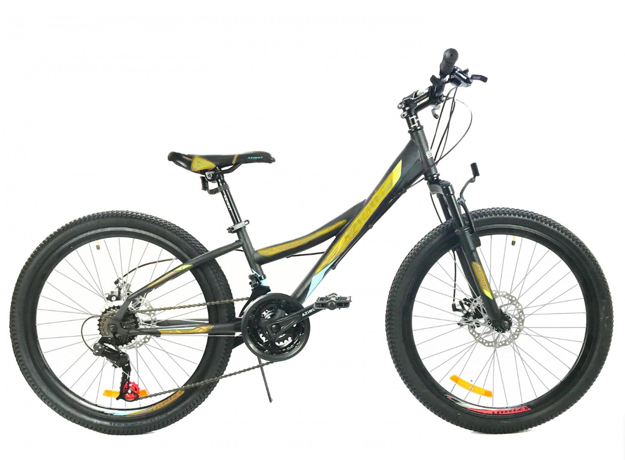 Спортивный велосипед 24 дюйма 12 рама Azimut Navigator Shimano GD черно-желтый