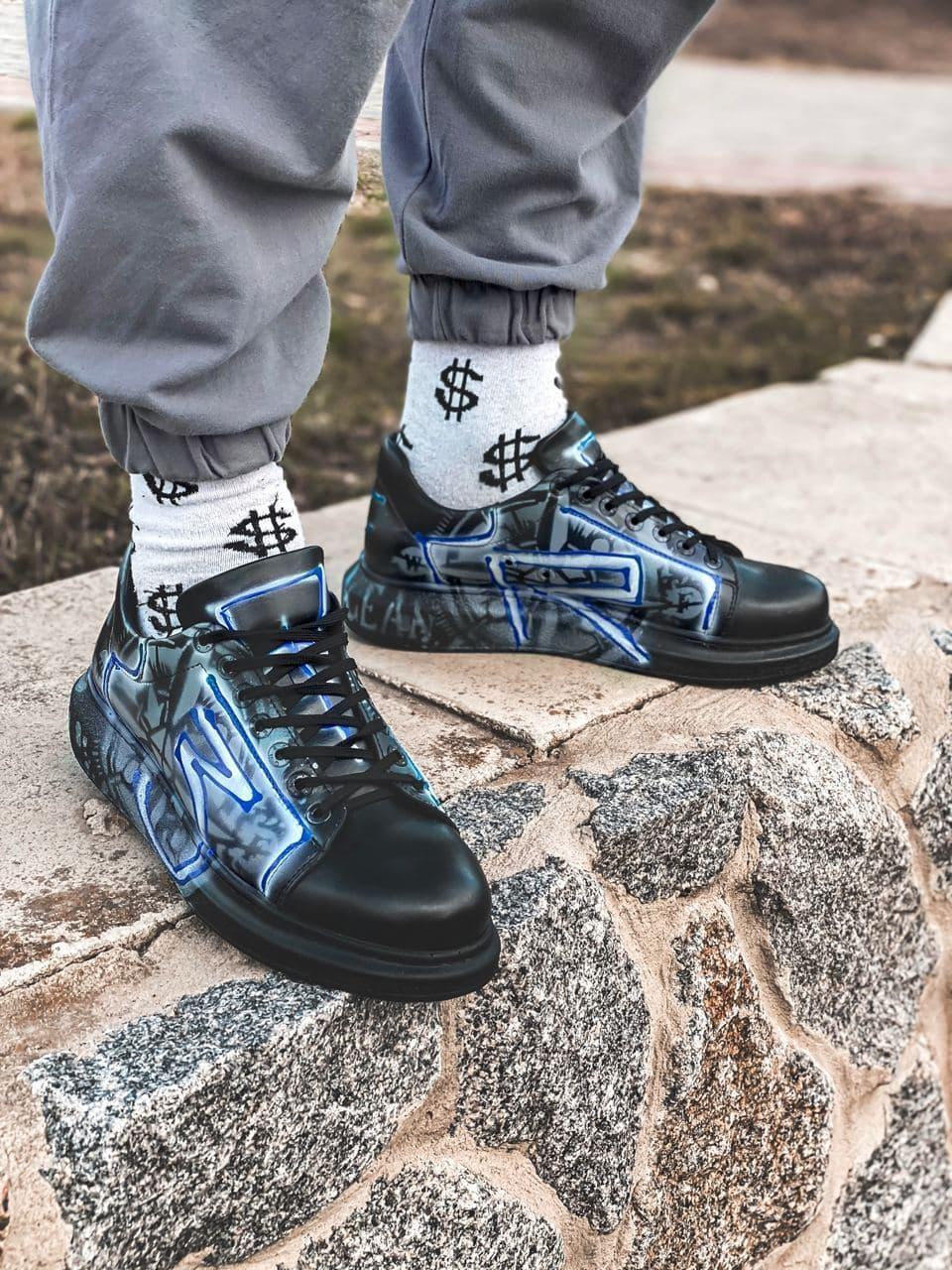 😜Кросівки - Чоловічі кросівки чорні з малюнком / чоловічі кросівки чорні з малюнком