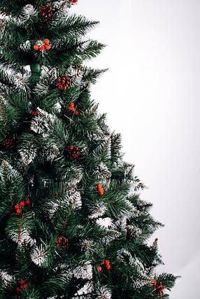 Різдвяна Ялинка елітна з шишкою і калиною червона 2,5 м, фото 2