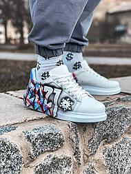 😜Кроссовки - Мужские кроссовки белые с рисунком / чоловічі кросівки білі з малюнком
