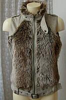 Жилет женский меховой безрукавка бренд Vila р.44 4562а