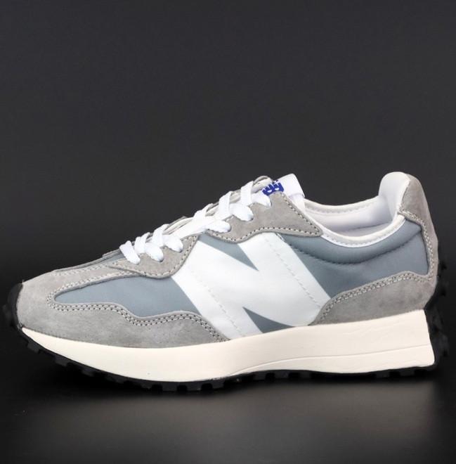 Мужские кроссовки New Balance 327 демисезонные серые с белым. Живое фото. Реплика