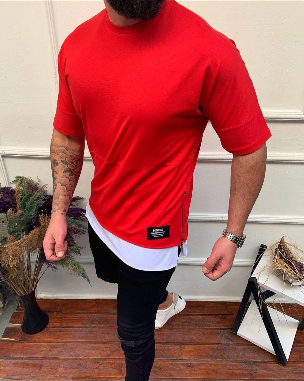 😜 Футболка - Мужская футболка оверсайз / футболка червона з замком збоку