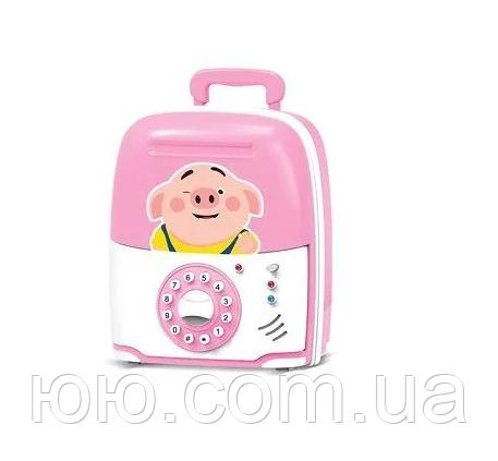 Дитяча електронна скарбничка сейф з кодовим замком і звуковими ефектами, Свинка