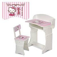Детская парта (арт. 301-2) регулируемая по высоте Hello Kitty (бело-розовая)