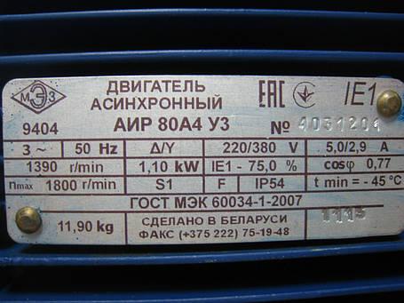 Трёхфазный электродвигатель АИР 80 А4 (1,1 кВт, 1500 об/мин), фото 2
