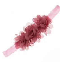 Детская повязка на голову цвета пудры - цветок 11*5см, размер универсальный (на резинке)