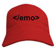 Бейсболка молодёжная летняя красного цвета с надписью emo