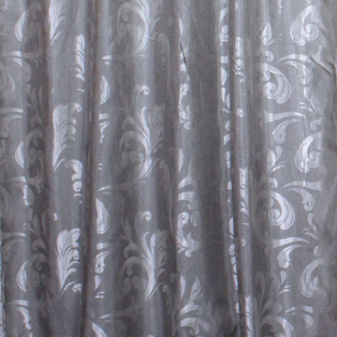 "Шторная ткань жаккард, коллекция ""Лилия"", высота 2,7м. Цвет серый. Код 430ш"