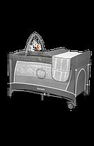 Ліжечко-манеж Lionelo FLOWER GREY SCANDI, фото 3