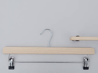 Довжина 39,5 см. Плічка вішалки тремпеля дерев'яні світлі ECO для штанів і спідниць