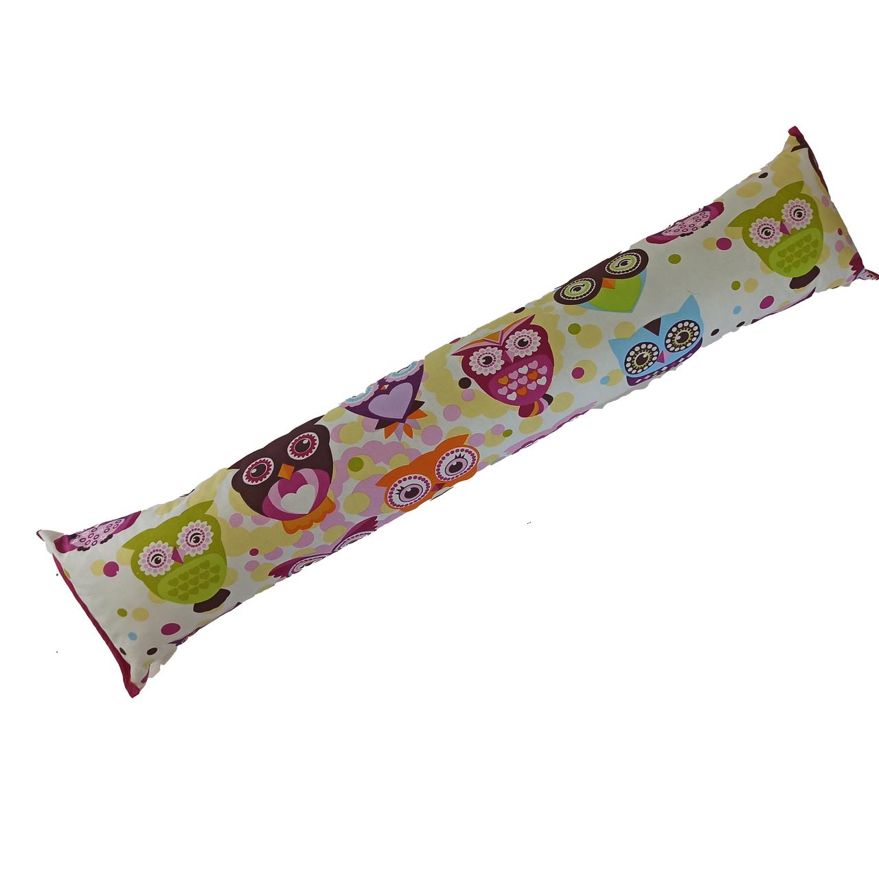 Подушка/обнимашка от сквозняков 90*15 см, (хлопок) (сказочные совы розовые)