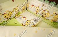 Защита бортик в детскую кроватку для новорожденных (пчелка салатовый)