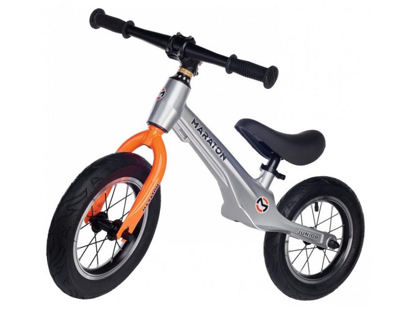 Беговел (Велобег) детский Maraton Junior с надувными колесами, Металлик