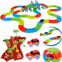 Гибкий трек с 2 машинками Гибкая светящаяся гоночная трасса Magic Tracks 360 деталей Детская дорога игрушечная