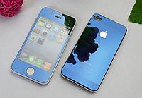 Защитное стекло для iPhone 4/4S (перед и зад) - HPG Mirror Tempered glass 0.3 mm (синий)