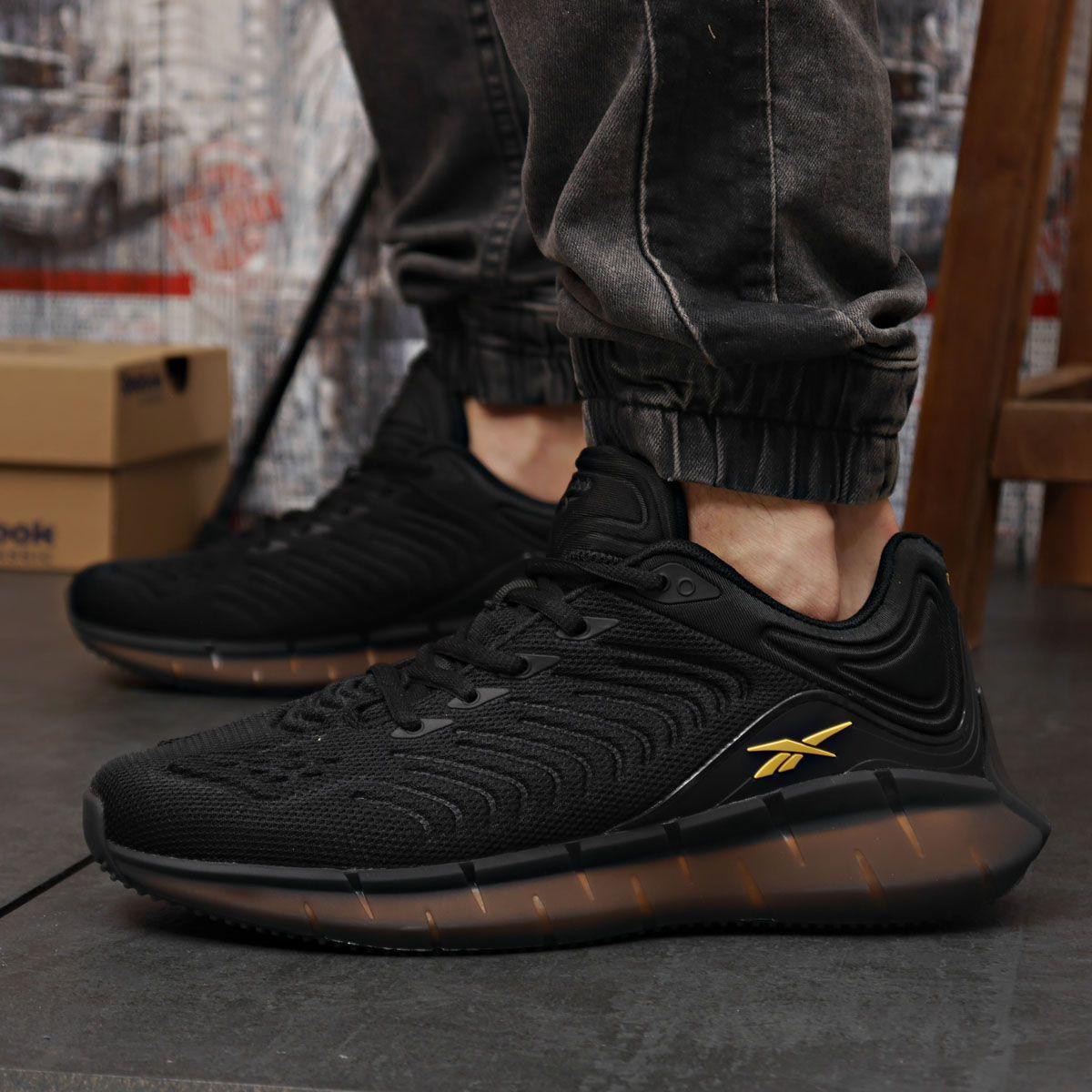Чоловічі кросівки Reebok Zig Kinetica чорні / кросівки Рібок Зіг Кінетика (Топ репліка ААА+)