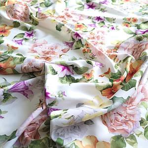 Ткань супер софт принт цветы на молочном
