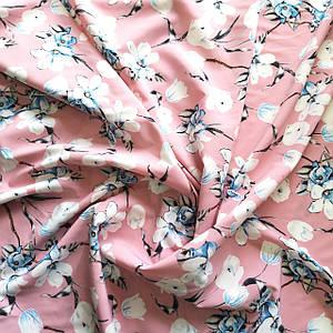 Ткань супер софт принт цветы на бледно-розовом