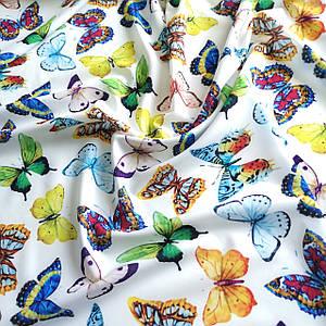 Ткань супер софт принт бабочки на белом