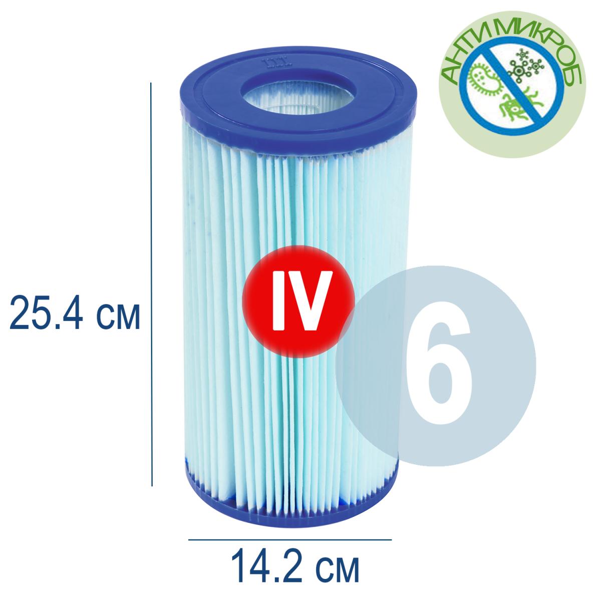 Бактерицидный картридж для фильтра Bestway 58505, тип IV, 6 шт (14,2 х 25,4 см)