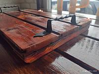 Поднос деревянный с коваными ручками, фото 1