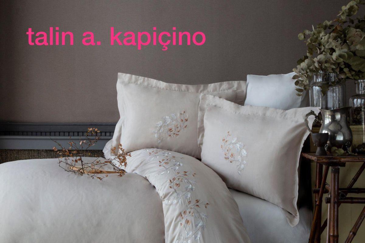 """Постільна білизна сатин з вишивкою Pupilla """"Talin a. kapuchino""""Євро розмір"""